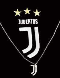 Silver necklace with Juventus club logo with an innovative and distinctive design.